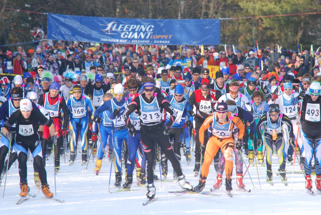 Skate skiers at the start of the Sleeping Giant Loppet